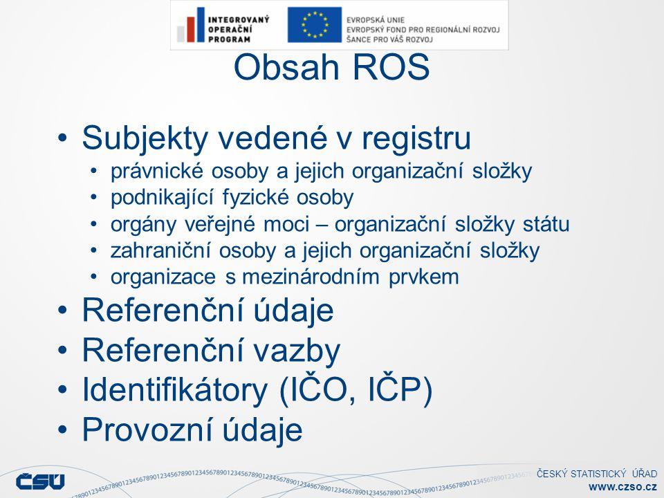 Obsah ROS Subjekty vedené v registru Referenční údaje Referenční vazby