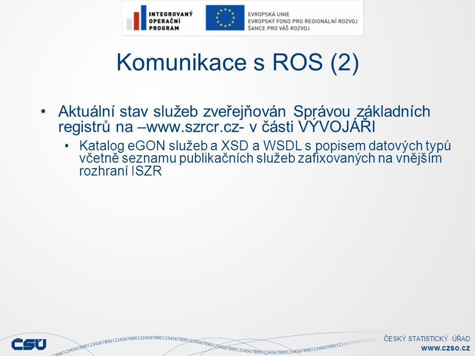 Komunikace s ROS (2) Aktuální stav služeb zveřejňován Správou základních registrů na –www.szrcr.cz- v části VÝVOJÁŘI.