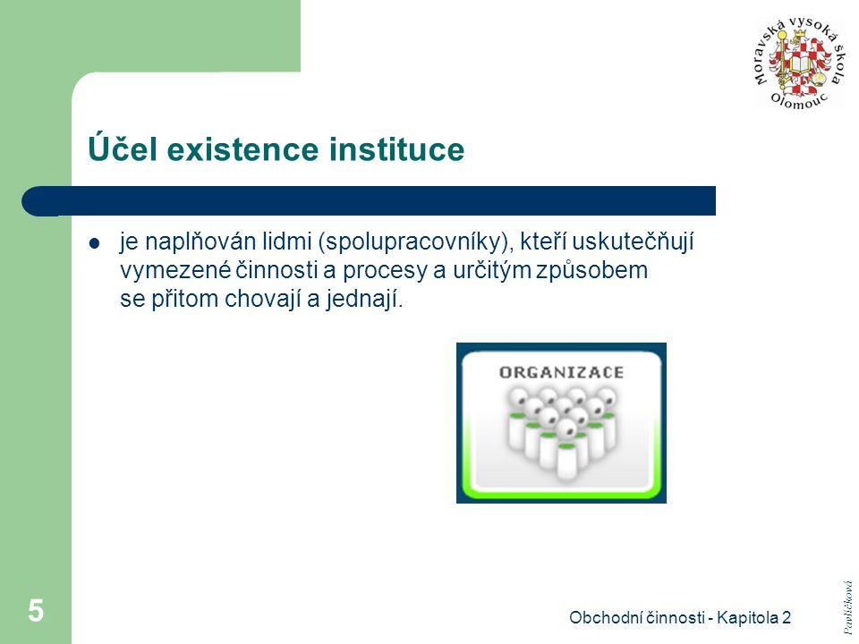 Účel existence instituce
