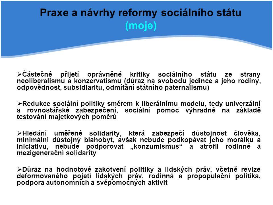 Praxe a návrhy reformy sociálního státu (moje)