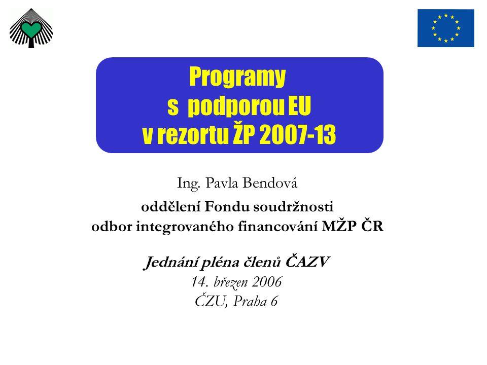 Programy s podporou EU v rezortu ŽP 2007-13 Ing. Pavla Bendová