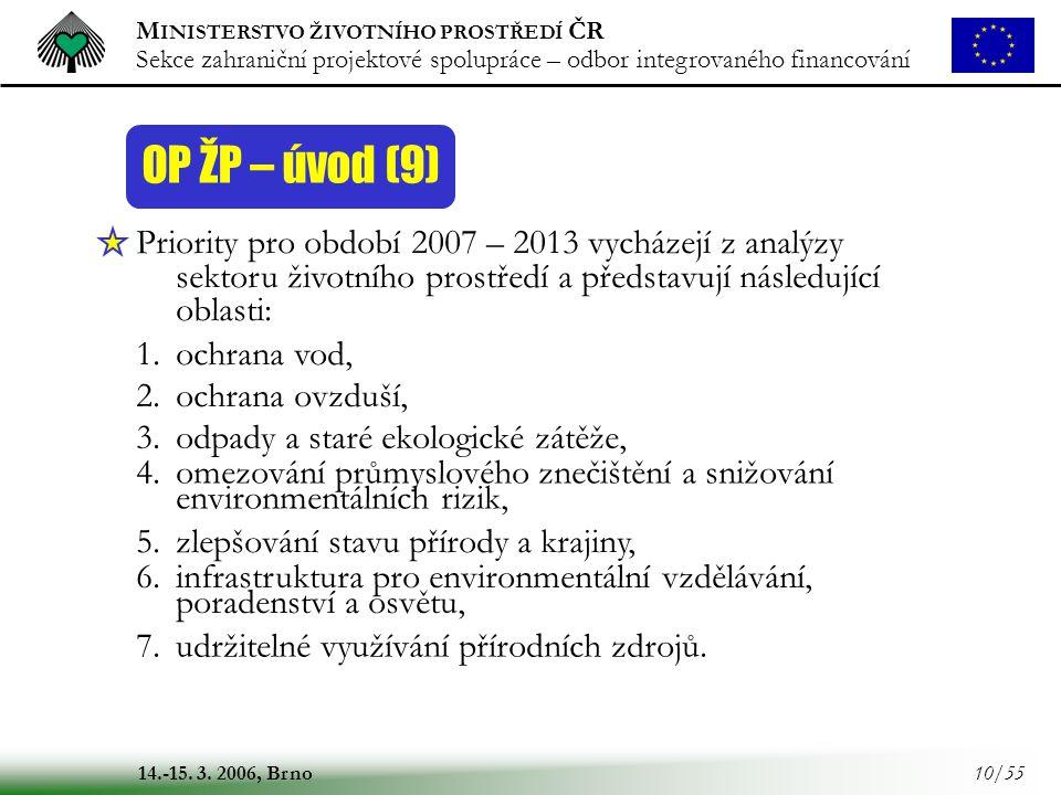 OP ŽP – úvod (9) Priority pro období 2007 – 2013 vycházejí z analýzy sektoru životního prostředí a představují následující oblasti: