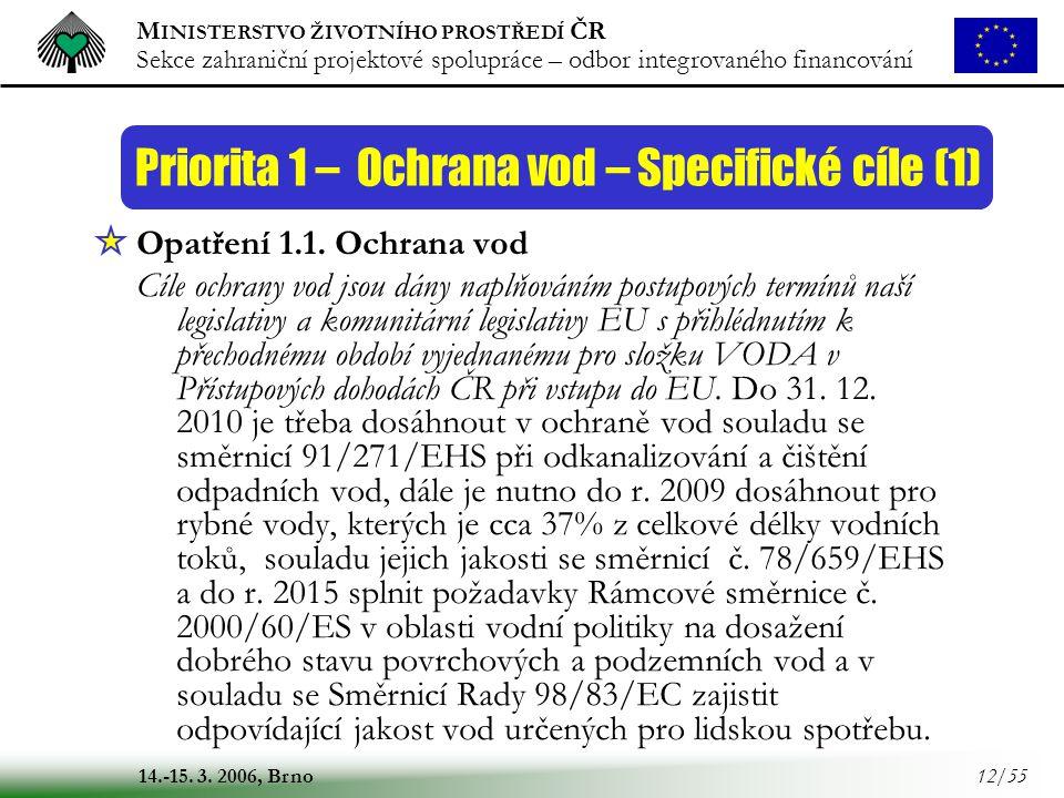 Priorita 1 – Ochrana vod – Specifické cíle (1)