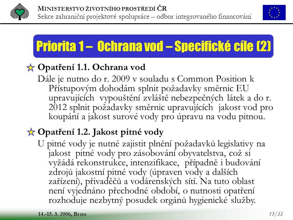 Priorita 1 – Ochrana vod – Specifické cíle (2)