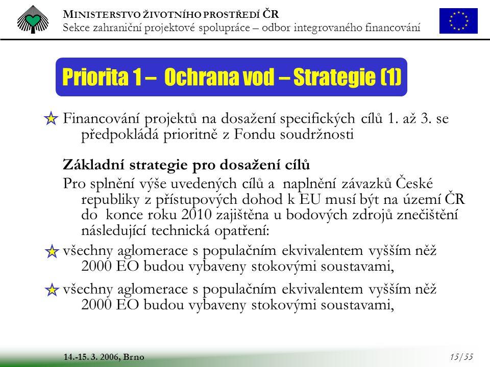 Priorita 1 – Ochrana vod – Strategie (1)