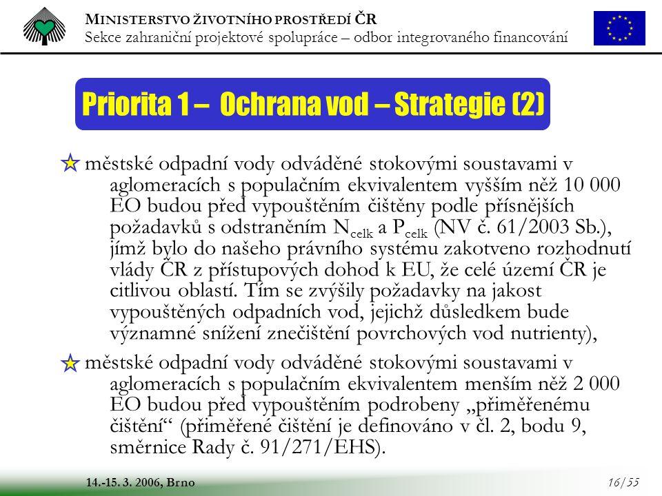 Priorita 1 – Ochrana vod – Strategie (2)