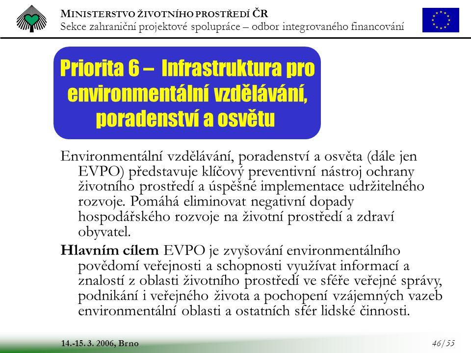 Priorita 6 – Infrastruktura pro environmentální vzdělávání,