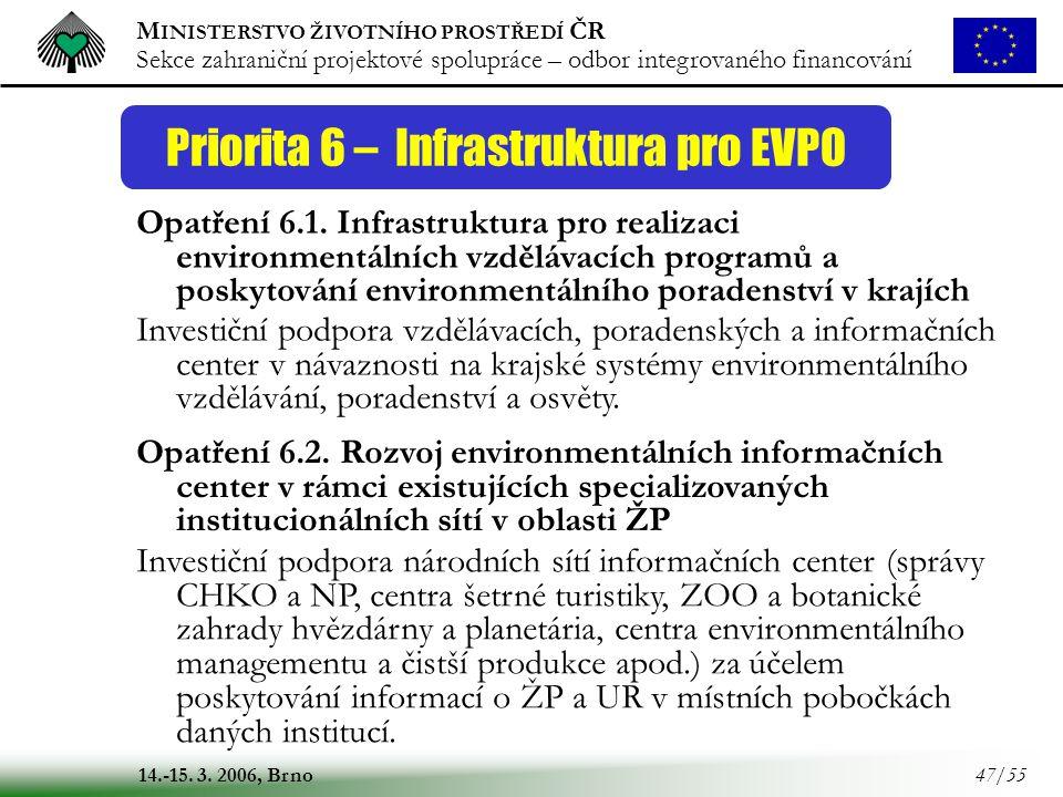 Priorita 6 – Infrastruktura pro EVPO