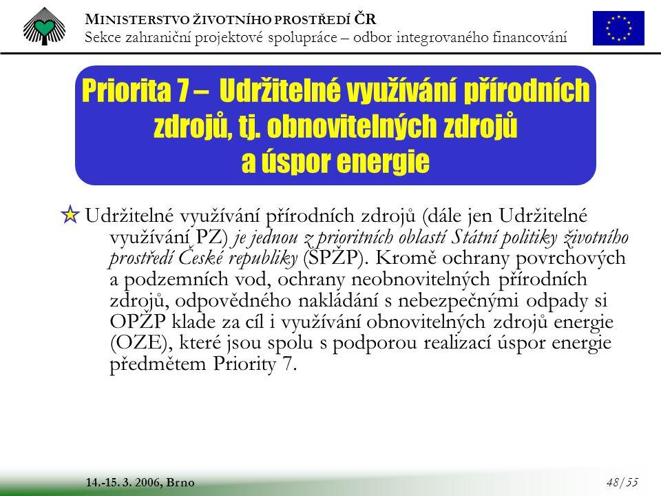 Priorita 7 – Udržitelné využívání přírodních