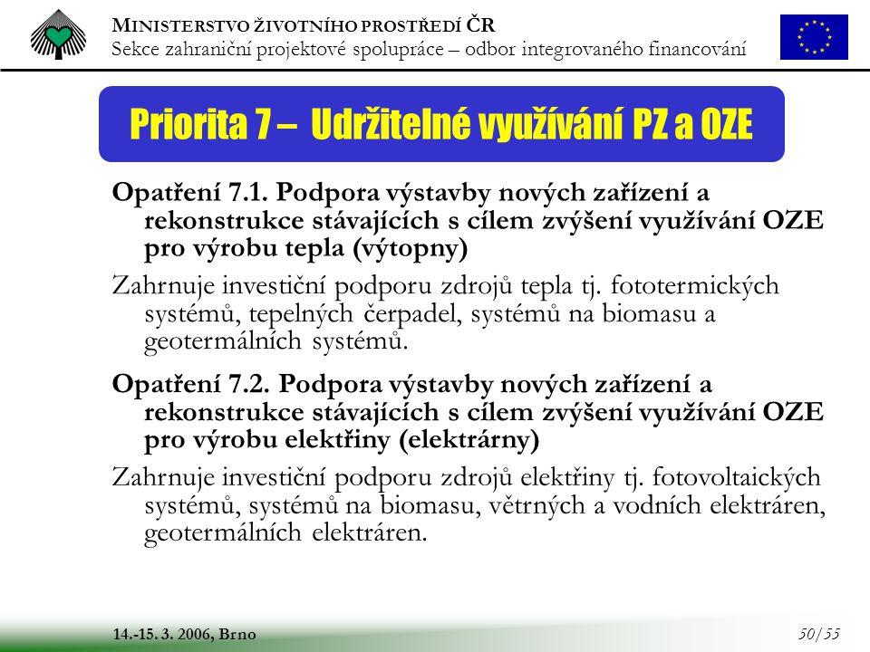 Priorita 7 – Udržitelné využívání PZ a OZE