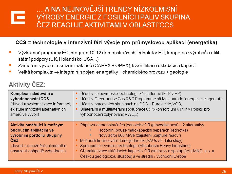 SOUČASNÝ STAV ELEKTROENERGETIKY ČR, REGIONU I EU Z POHLEDU SKUPINY ČEZ