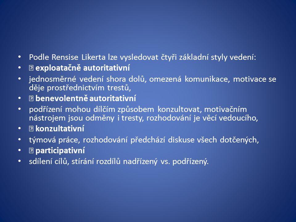 Podle Rensise Likerta lze vysledovat čtyři základní styly vedení: