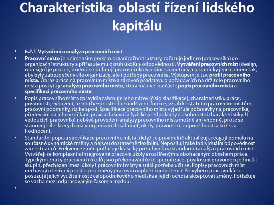Charakteristika oblastí řízení lidského kapitálu