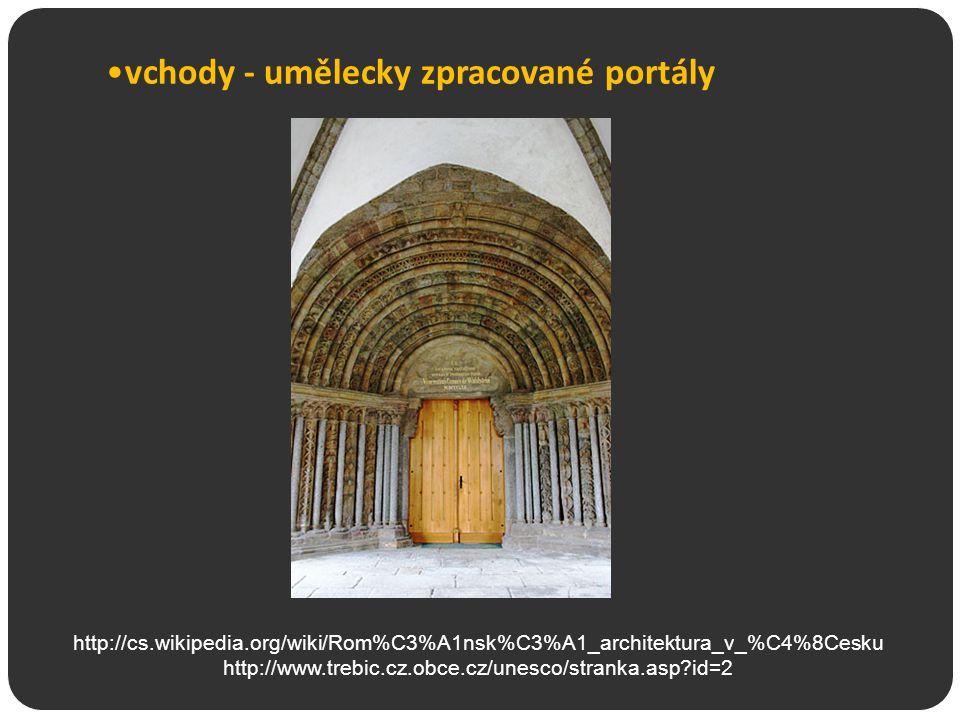vchody - umělecky zpracované portály