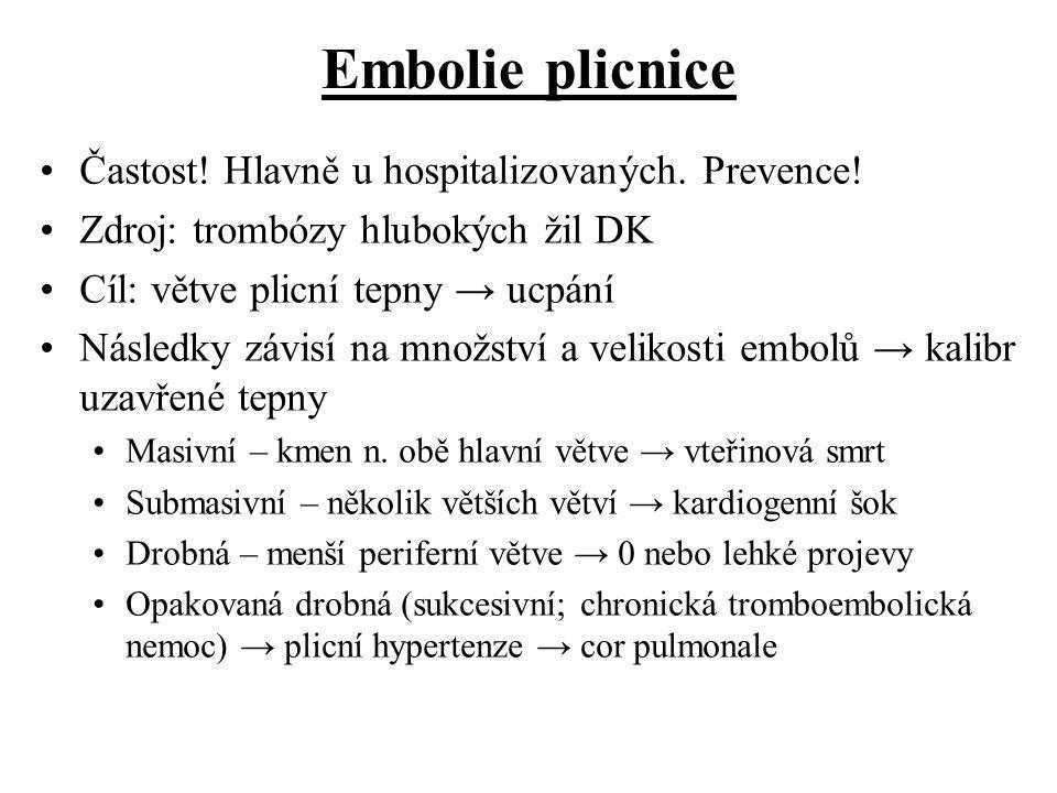 Embolie plicnice Častost! Hlavně u hospitalizovaných. Prevence!