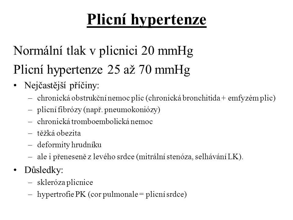Plicní hypertenze Normální tlak v plicnici 20 mmHg