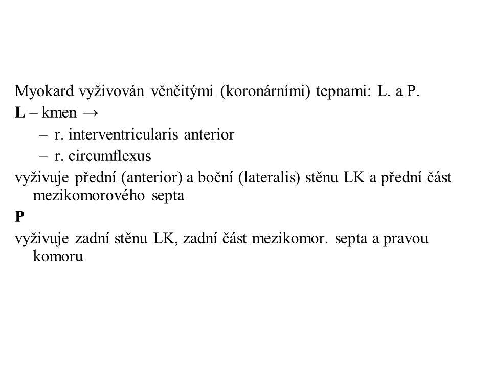 Myokard vyživován věnčitými (koronárními) tepnami: L. a P.