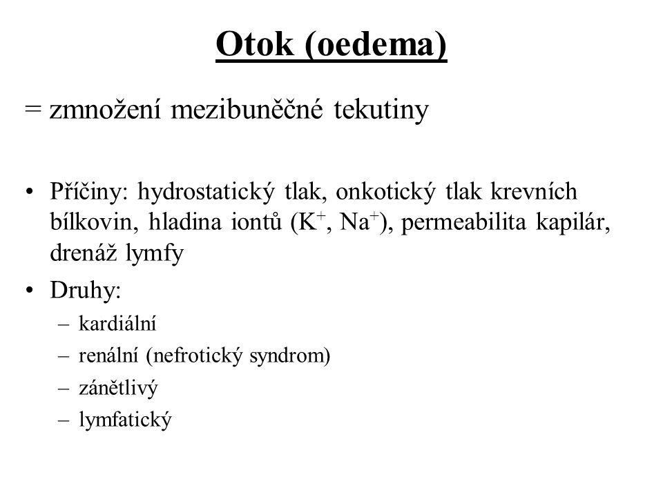 Otok (oedema) = zmnožení mezibuněčné tekutiny