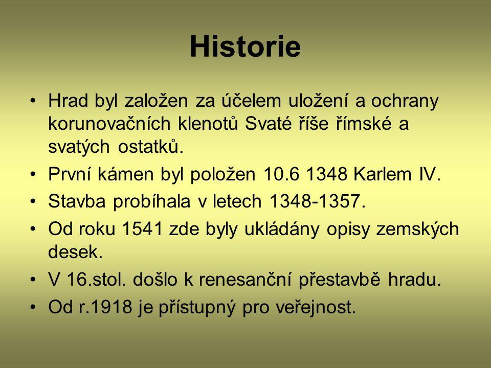 Historie Hrad byl založen za účelem uložení a ochrany korunovačních klenotů Svaté říše římské a svatých ostatků.