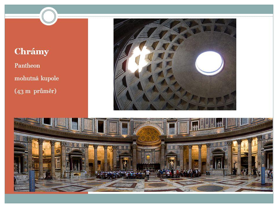 Chrámy Pantheon mohutná kupole (43 m průměr)