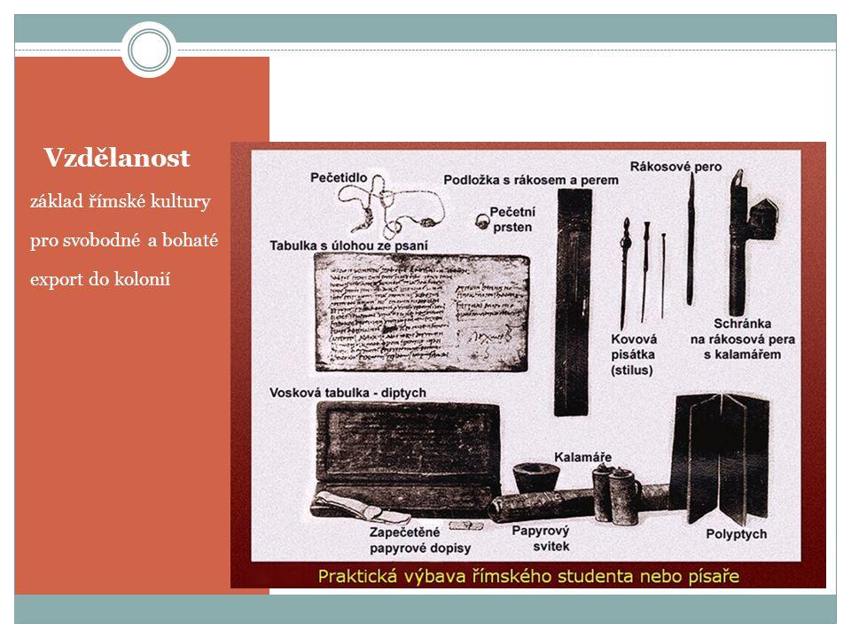 Vzdělanost základ římské kultury pro svobodné a bohaté