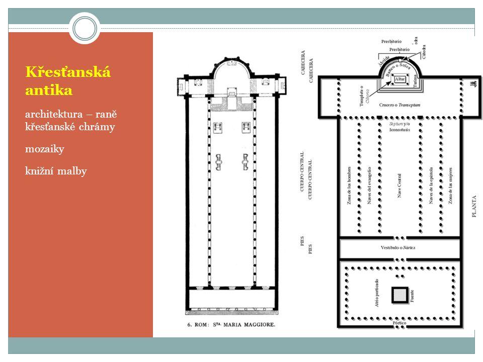Křesťanská antika architektura – raně křesťanské chrámy mozaiky