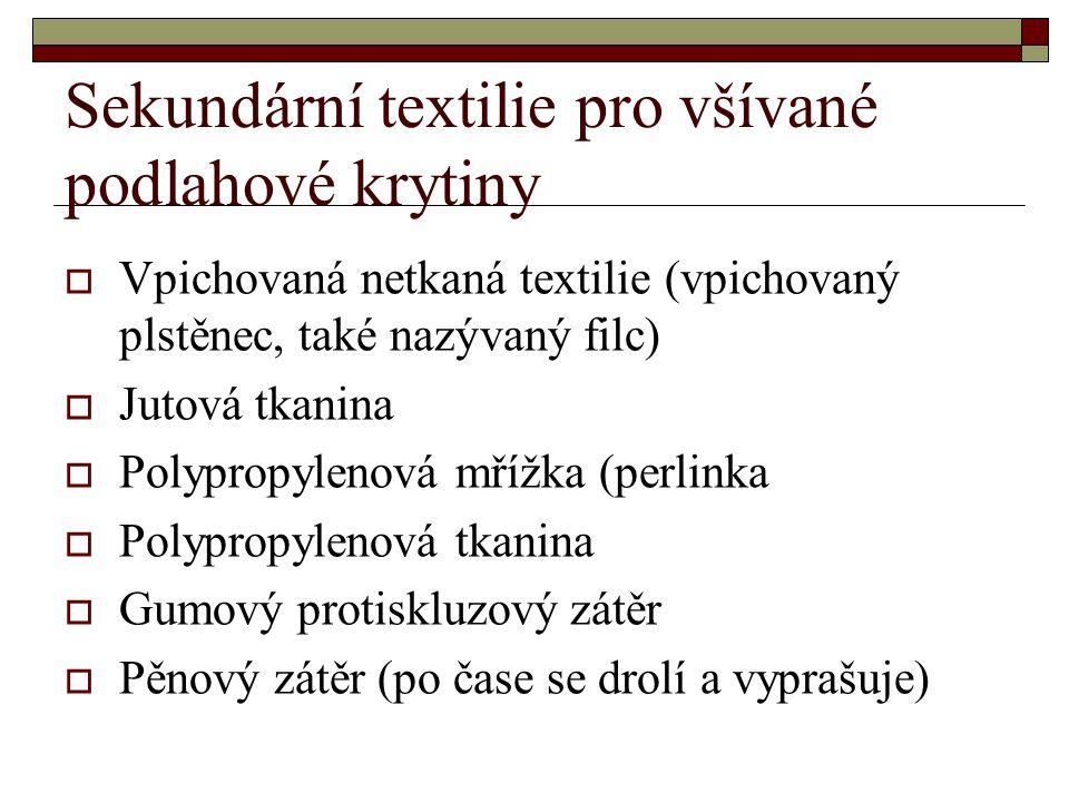 Sekundární textilie pro všívané podlahové krytiny