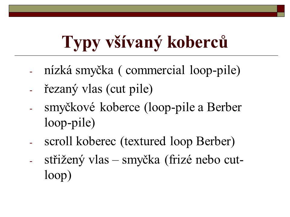 Typy všívaný koberců nízká smyčka ( commercial loop-pile)