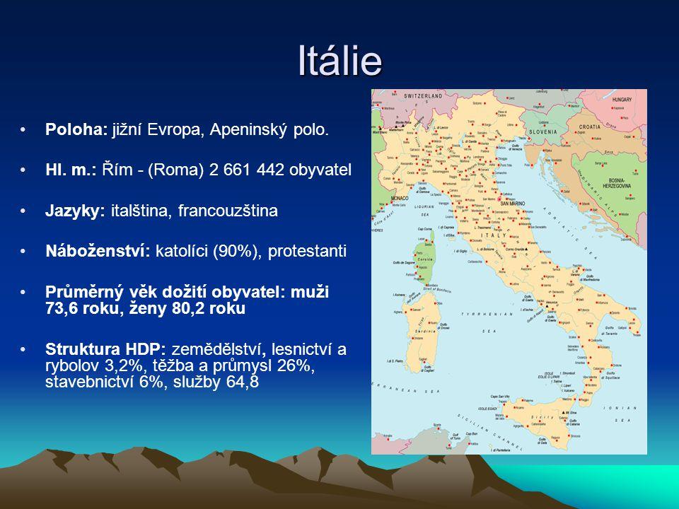 Itálie Poloha: jižní Evropa, Apeninský polo.