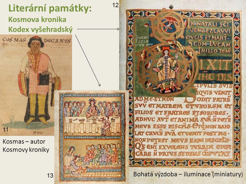 Literární památky: Kosmova kronika Kodex vyšehradský