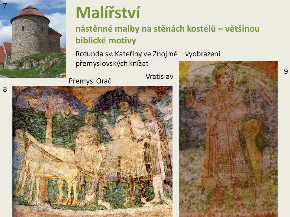 Malířství nástěnné malby na stěnách kostelů – většinou biblické motivy