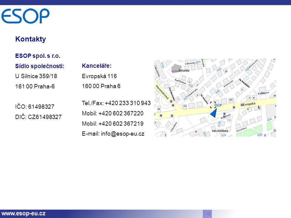 Kontakty ESOP spol. s r.o. Sídlo společnosti: U Silnice 359/18