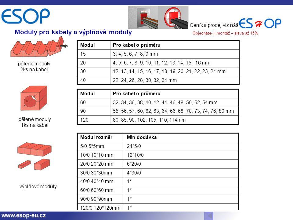 Moduly pro kabely a výplňové moduly
