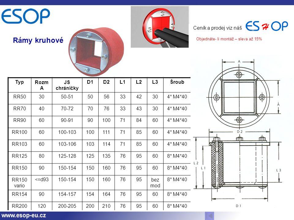 Rámy kruhové Ceník a prodej viz náš Typ Rozm A JS chráničky D1 D2 L1