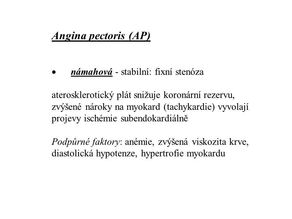 Angina pectoris (AP) · námahová - stabilní: fixní stenóza