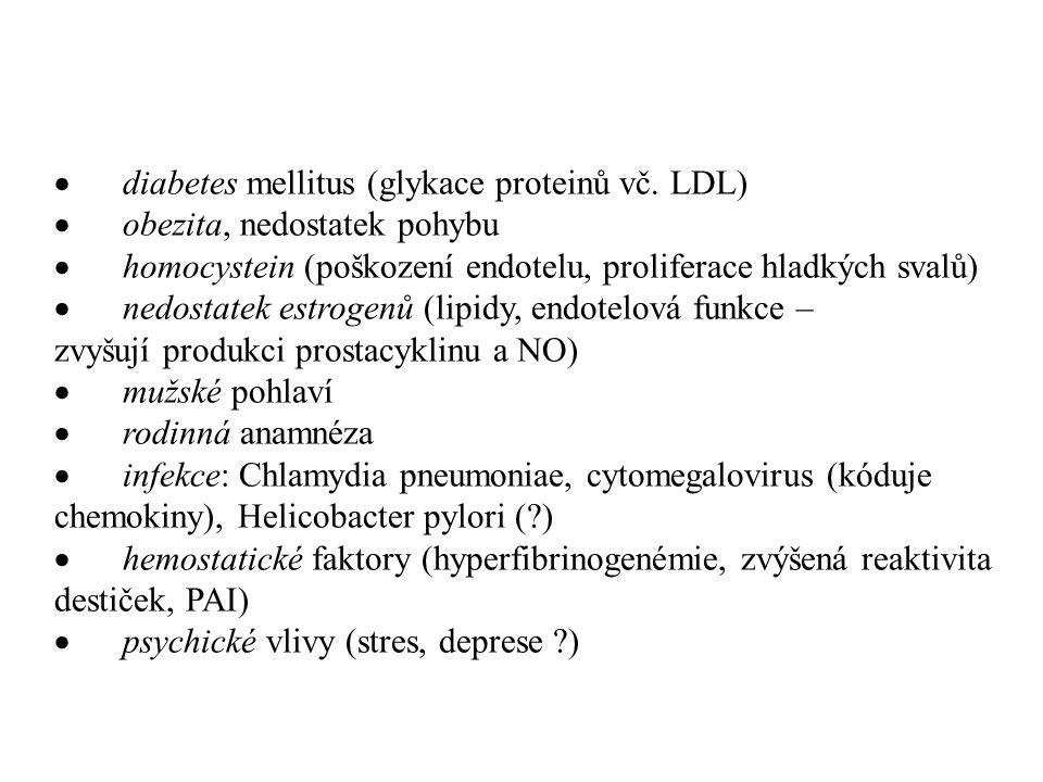 · diabetes mellitus (glykace proteinů vč. LDL)