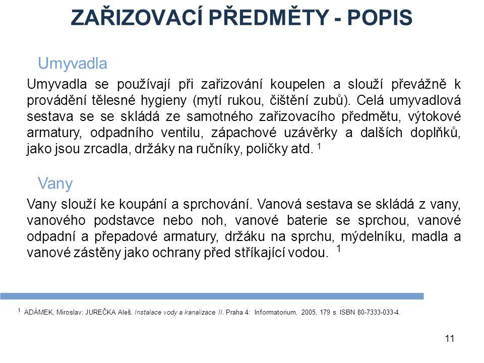 ZAŘIZOVACÍ PŘEDMĚTY - POPIS
