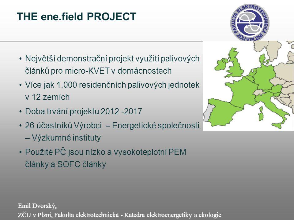 THE ene.field PROJECT Největší demonstrační projekt využití palivových článků pro micro-KVET v domácnostech.