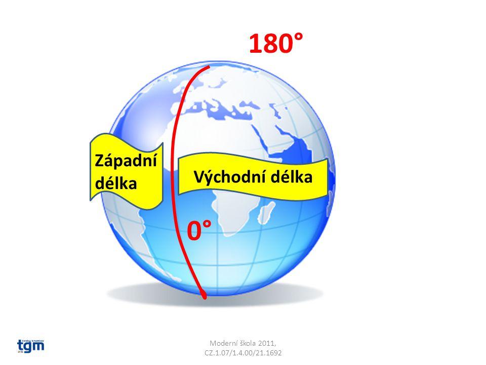 180° 0° Západní délka Východní délka