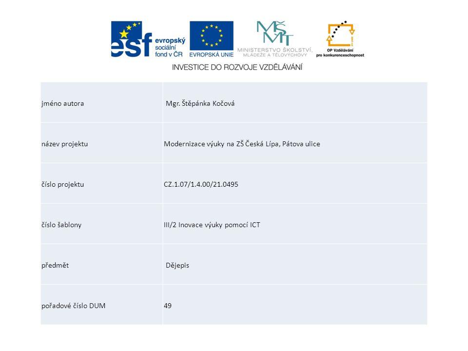 jméno autora Mgr. Štěpánka Kočová. název projektu. Modernizace výuky na ZŠ Česká Lípa, Pátova ulice.