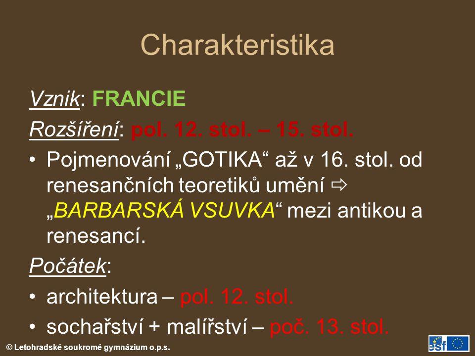 Charakteristika Vznik: FRANCIE Rozšíření: pol. 12. stol. – 15. stol.