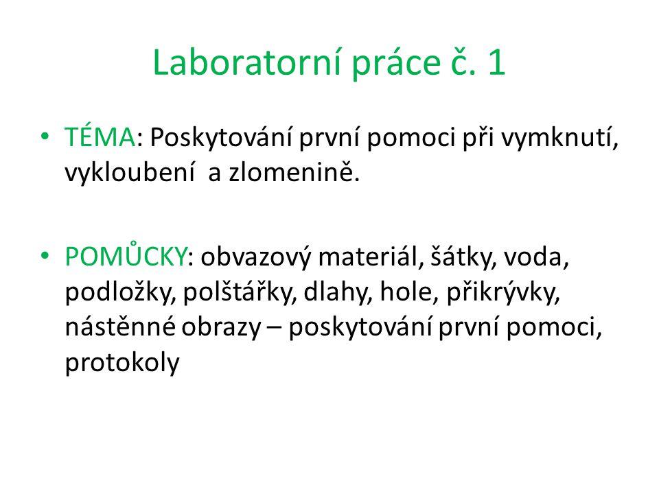 Laboratorní práce č. 1 TÉMA: Poskytování první pomoci při vymknutí, vykloubení a zlomenině.