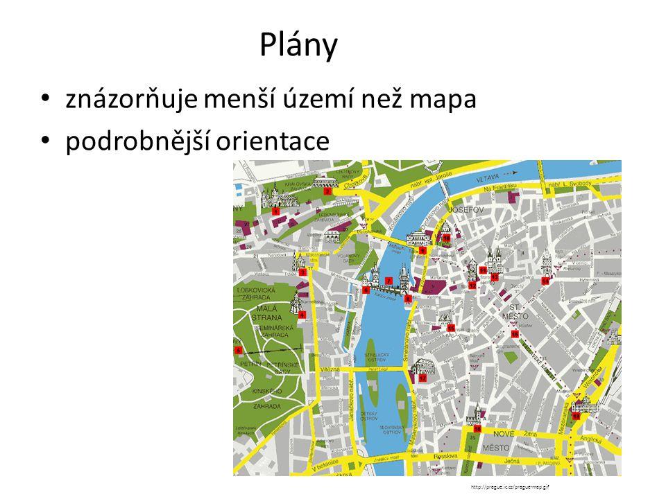Plány znázorňuje menší území než mapa podrobnější orientace