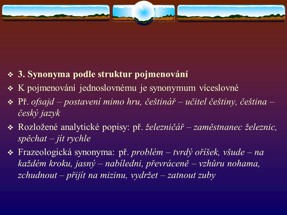 3. Synonyma podle struktur pojmenování