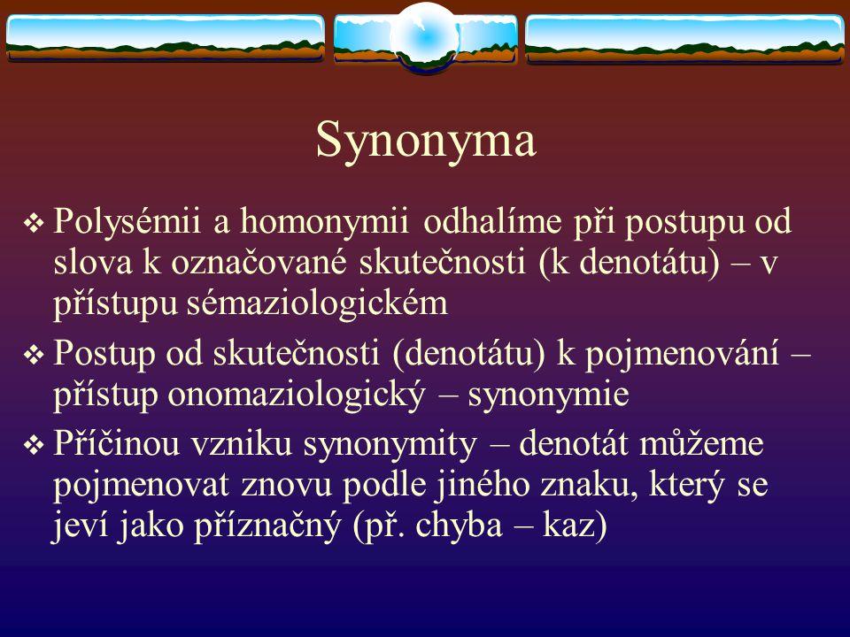 Synonyma Polysémii a homonymii odhalíme při postupu od slova k označované skutečnosti (k denotátu) – v přístupu sémaziologickém.