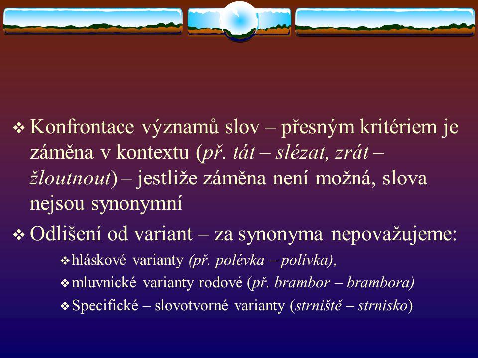 Odlišení od variant – za synonyma nepovažujeme: