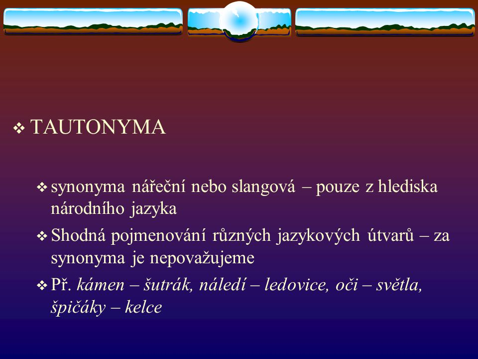 TAUTONYMA synonyma nářeční nebo slangová – pouze z hlediska národního jazyka.