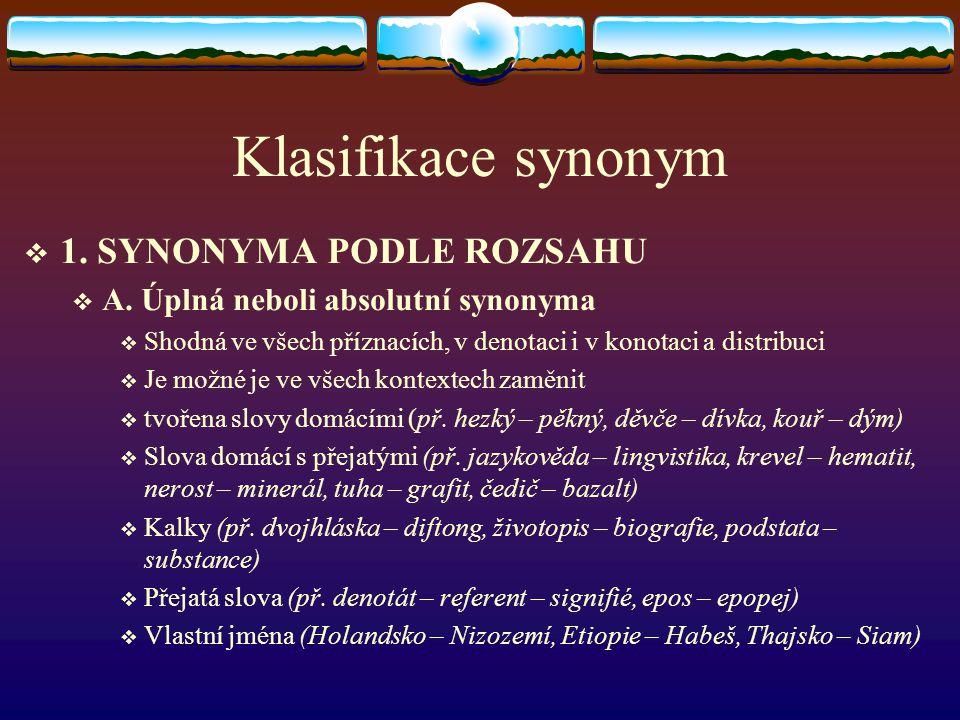 Klasifikace synonym 1. SYNONYMA PODLE ROZSAHU
