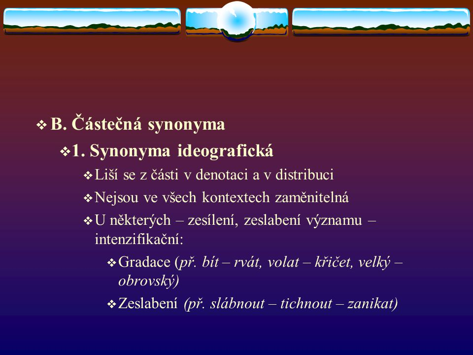 1. Synonyma ideografická
