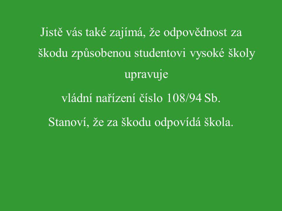 vládní nařízení číslo 108/94 Sb. Stanoví, že za škodu odpovídá škola.